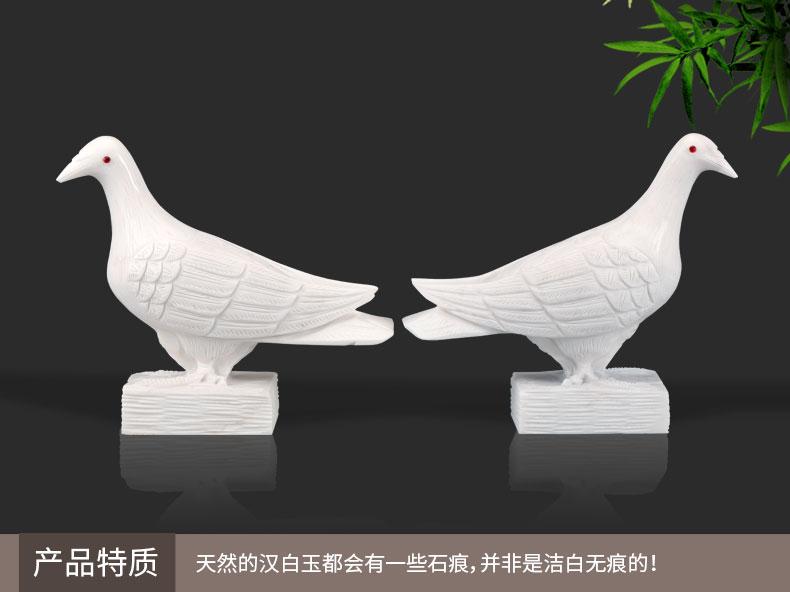 精雕汉白玉红玛瑙眼睛鸽子产品特质