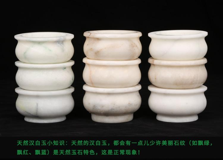 天然汉白玉白色圆形香炉