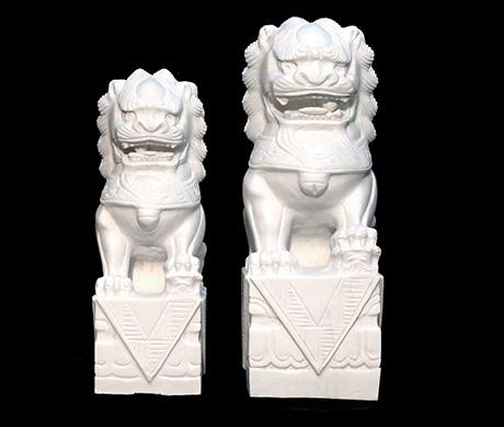 精雕汉白玉石狮子48-58厘米