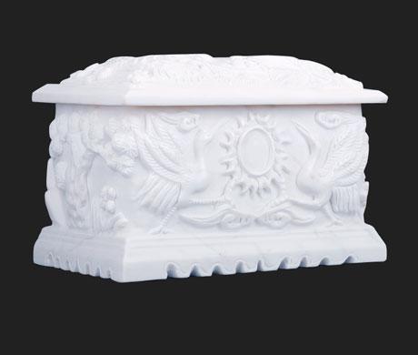 汉白玉仙鹤园骨灰盒