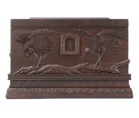 鹤园黑紫檀红木骨灰盒