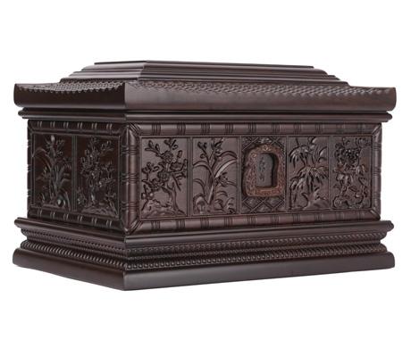江南风情黑紫檀骨灰盒